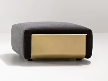 Rectangular fabric pouf with brass structure LOOM | Pouf