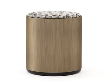 Round wood veneer pouf HER | Pouf