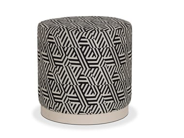 Upholstered round fabric pouf SUBLIME | Pouf