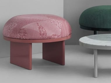 Upholstered round fabric pouf ANZA | Pouf