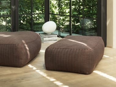 Upholstered fabric pouf with removable lining ZOE MORE | Pouf