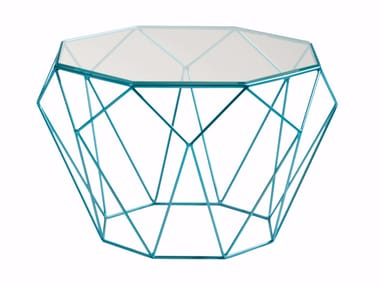 Octagonal glass and steel coffee table PRECIOUS