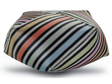 Diamante pouf in multicolored barrè striped raffia PRESCOTT | Pouf