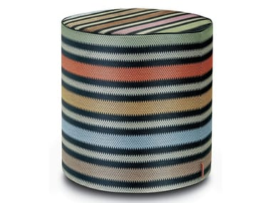 Cylinder pouf in multicolored barrè striped raffia PRESCOTT | Round pouf