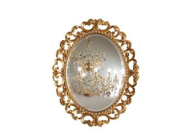 Oval framed wall-mounted wooden mirror PRESTIGE PLUS | Oval mirror