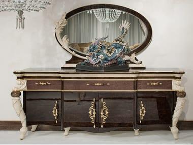 Madia laccata in legno con ante a battente con anta a specchio PRESTIGE | Madia