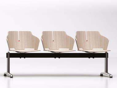 Cadeiras em barra de madeira laminada para fixação ao chão PRIMA | Cadeiras em barra