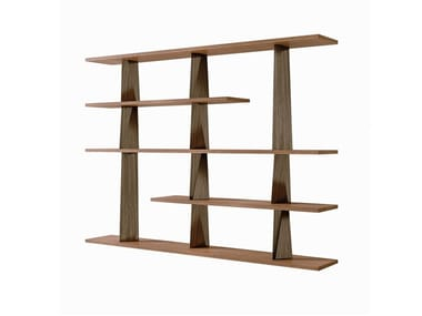 Freestanding lacquered wooden bookcase PRISMA | Bookcase
