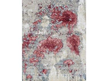 Patterned handmade rectangular Bamboo silk rug PRIVILEGE GREY PINK