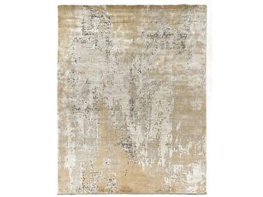 Handmade rectangular Bamboo silk and wool rug PRIVILEGE SILVER GOLD