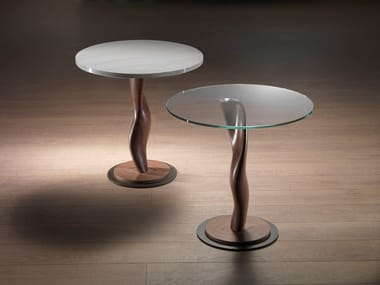 Round wood and glass coffee table PISTILLO