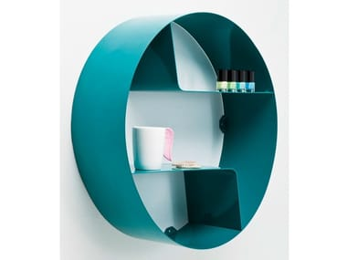 Lacquered open wall cabinet CICLE WAVE TEAL
