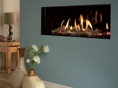 Gas wall-mounted built-in fireplace EDEN