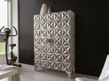 Storage bathroom cabinet with doors DIAMOND | Silver leaf bathroom cabinet