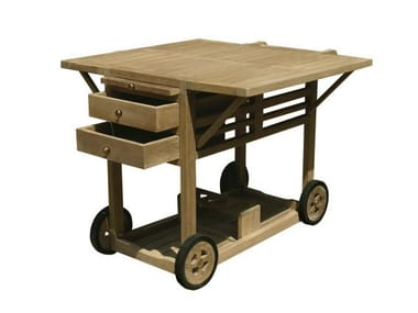 Wooden outdoor trolley with Drawers TELEMACO | Outdoor trolley