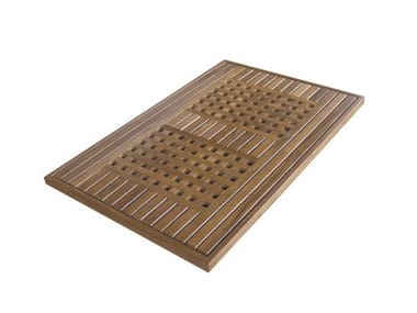 Rectangular teak mat WELCOME