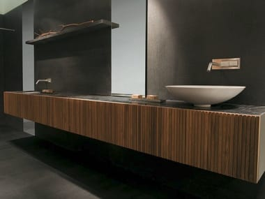 Single wall-mounted teak vanity unit with doors DOOR | Teak washbasin unit