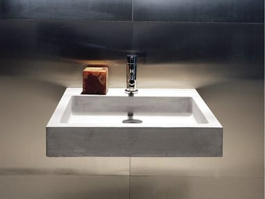 Square single wall-mounted cement washbasin ELLE | Cement washbasin