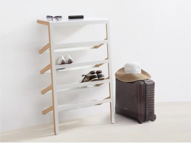 Steel and wood shoe cabinet MILA