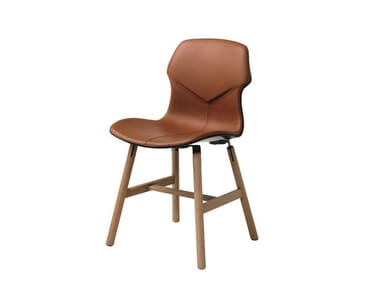 Oak chair STEREO WOOD | Leather chair