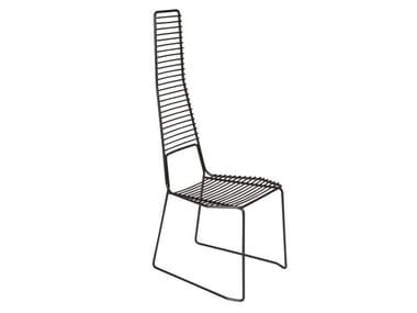 Sled base high-back metal garden chair ALIENO HIGH