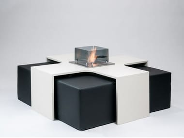 Wooden fireplace / coffee table MEET