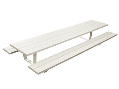Aluminium picnic table with integrated benches CASSECROUTE