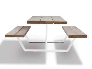 Iroko picnic table with integrated benches CASSECROUTE IROKO