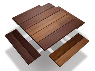 Square picnic table with integrated benches CARRÉ