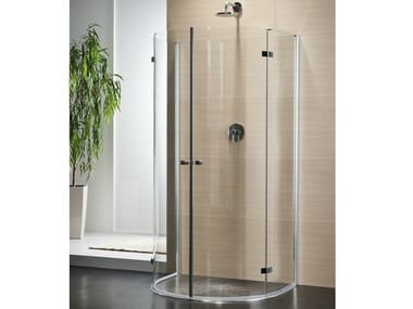 Semicircular crystal shower cabin with hinged door MULTI-S 4000 | Semicircular shower cabin