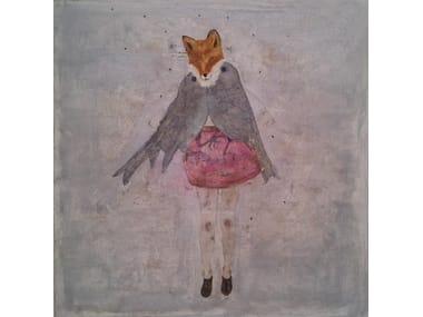 Olio e inchiostro su tela FOX&BIRDS
