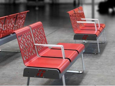 Steel Bench with armrests with back FRECCIA