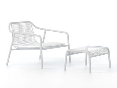 Metal garden armchair with footstool JACKET OUTDOOR