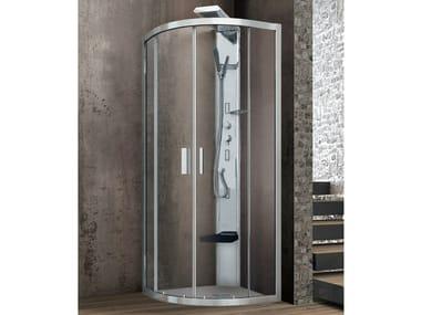 Cabine de douche d'angle ronde en cristal à portes coulissantes ASTER-T | Cabine de douche semi-circulaire