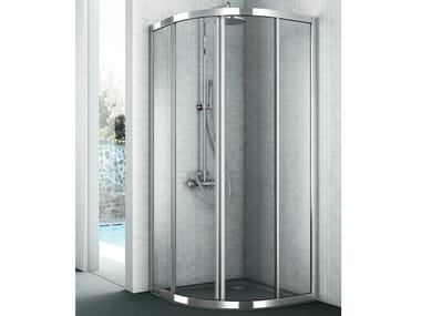 Corner crystal shower cabin with two sliding doors EASY