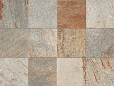Pavimento/rivestimento in gres porcellanato a tutta massa effetto pietra STONE D Quarzite Multicolor