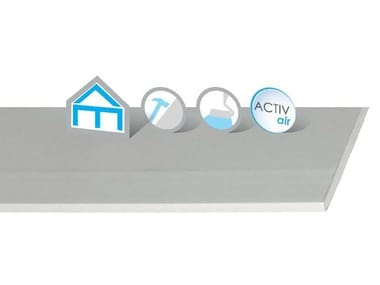Acoustic gypsum plasterboard for partition walls for suspended ceiling Habito Activ'Air®