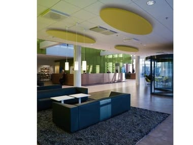 Glass wool acoustic ceiling clouds Ecophon Solo™ Ellipse