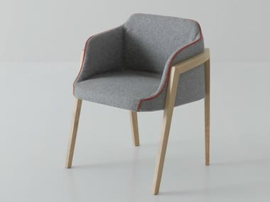 Upholstered easy chair with armrests CHEVALET
