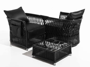 Garden woven wicker easy chair with armrests VEGA   Garden easy chair