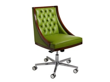 Tufted leather easy chair with 5-spoke base with castors BOSS