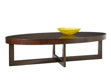 Oval wooden coffee table for living room CRISS CROSS