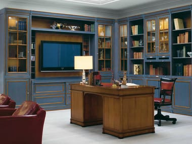 Venetian style solid wood bookcase with TV stand LE STANZE DEL DOGE | Bookcase with TV stand