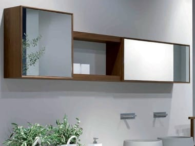 Suspended ash bathroom wall cabinet with mirror VELA | Bathroom wall cabinet with mirror