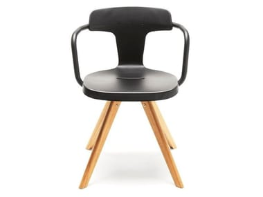 Stainless steel and wood chair T14 | Wooden chair