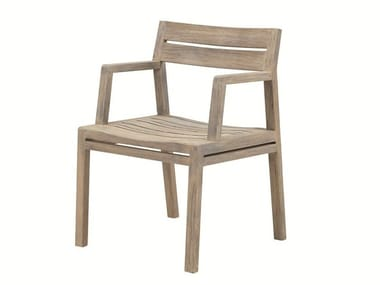 Teak garden chair with armrests COSTES | Garden chair
