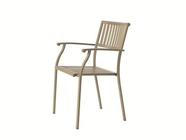 Stackable steel garden chair ELISIR | Chair with armrests