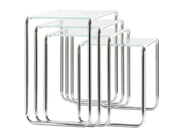 Tavolino in acciaio e vetro B 9 | Tavolino in acciaio e vetro