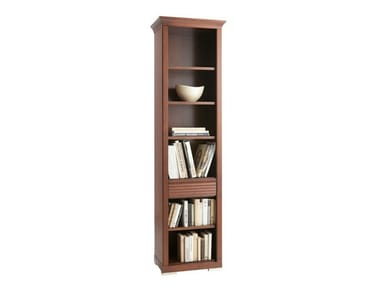 Wall-mounted bookcase with drawers LUNA | Wooden bookcase