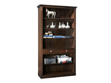 Open wooden bookcase with drawers SOPHIA | Bookcase